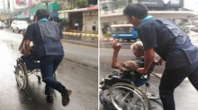ปรบมือรัวๆ!! เด็กเทคนิคฝ่าสายฝนเพื่อช่วยเข็นลุงพิการ (ชมภาพ)