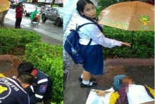 ปรบมือ.. เด็กนักเรียนคนนี้ เห็นคนโดนรถชนตาย นี่คือสิ่งที่เธอทำ