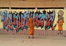 หลวงพี่สุดอาร์ต!!สร้างสรรค์กำลังวัดสุดเท่ด้วยGraffiti!!