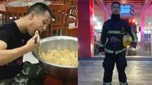 หนุ่มนักดับเพลิงเขมือบ บะหมี่กึ่งสำเร็จรูป ชามยักษ์ลงท้องหมดอย่างง่ายดายดังในชั่วข้ามคืน!!