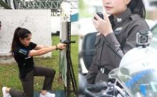 """ตำรวจสาวสวยปืนดุ!! """"หมวดกิ่ง"""" ทำหน้าที่อารักขา ควบคุมฝูงชน กระชากใจหนุ่มสุดๆ"""