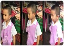 สุภาพบุรุษตัวน้อย!!! หนุ่มอนุบาลยืนเถียงแม่ค้ากลางตลาด ป้องเพื่อนสาวที่โดนแกล้ง!