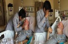 ใจแทบขาด..วินาทีชายหนุ่ม โผเข้าสวมกอด แฟนทหารวัย 85 ปี ป่วยมะเร็งระยะสุดท้าย