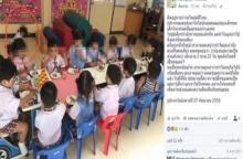 สมควรหรือ?? แม่เด็กหญิงวัย 2 ขวบเดือด! โพสต์ภาพลูกนั่งกินขนมกับพื้น ที่โรงเรียนคนเดียว