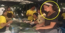 สาวปรากฏตัว ช่วยแม่ครัวจิตอาสา ถ้ำหลวง พอรู้เธอมาจากไหนชื่นชมหัวใจเลย!