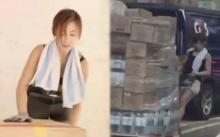 พนักงานขนของหญิง สู้ชีวิตทำงานหนักมาก แต่พอเห็นหน้าชัดๆ ทำเอาตะลึง!! (มีคลิป)