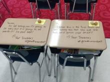 ภาพสุดซึ้ง! ครูเขียนข้อความบนโต๊ะสอบเพื่อให้กำลังใจเด็ก ช่วยลดความกังวล