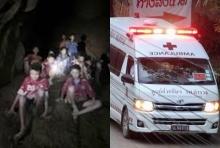 (คลิป)รถพยาบาลพาหมูป่าถึงรพ.เชียงราย ประชาชนรอให้กำลังใจเต็ม2ข้างทาง