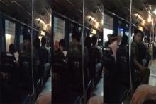 แชร์ว่อน ชายชุดพรางทุบตีหญิงสาวบนรถเมล์สาย107แบบไม่ปราณี(มีคลิป)