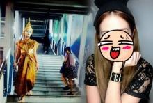 เห็นยัง??สาวชุดไทยหน้าขาวเดินหลอนกลางกรุง ตัวจริงเบ้าหน้าดีเวอร์!!